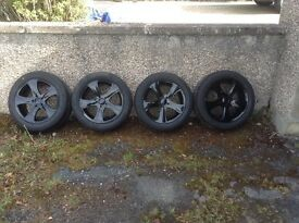 """17"""" 5 stud refurbished alloys and winter tyres."""