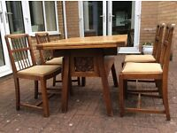 Extending 1930's Dining Table and 4 Chairs