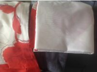 Red and cream fully lined curtains size 90x90 inch