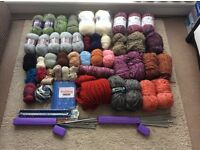 Knitting needles and assorted yarn - Job lot*