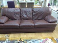 Leather 3 + 2 seatee sofas