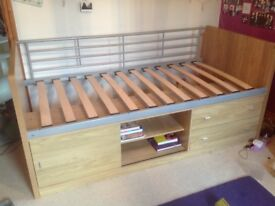 BEECH COLOURED MID SINGLE BED WITH CUPBOARD SPACE UNDERNEATH