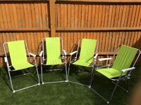 Collapsible green picnic chairs x4