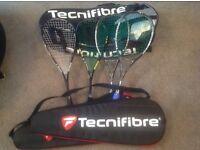 Squash rackets * 4 and racket bag