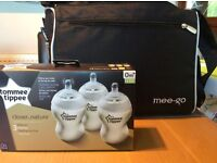 Brand New Changing Bag and 3 x boxed tommee tippee bottles