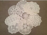 8 Large White/Ivory Vintage Doilies.
