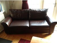 2 leather, identical, chocolate brown sofas