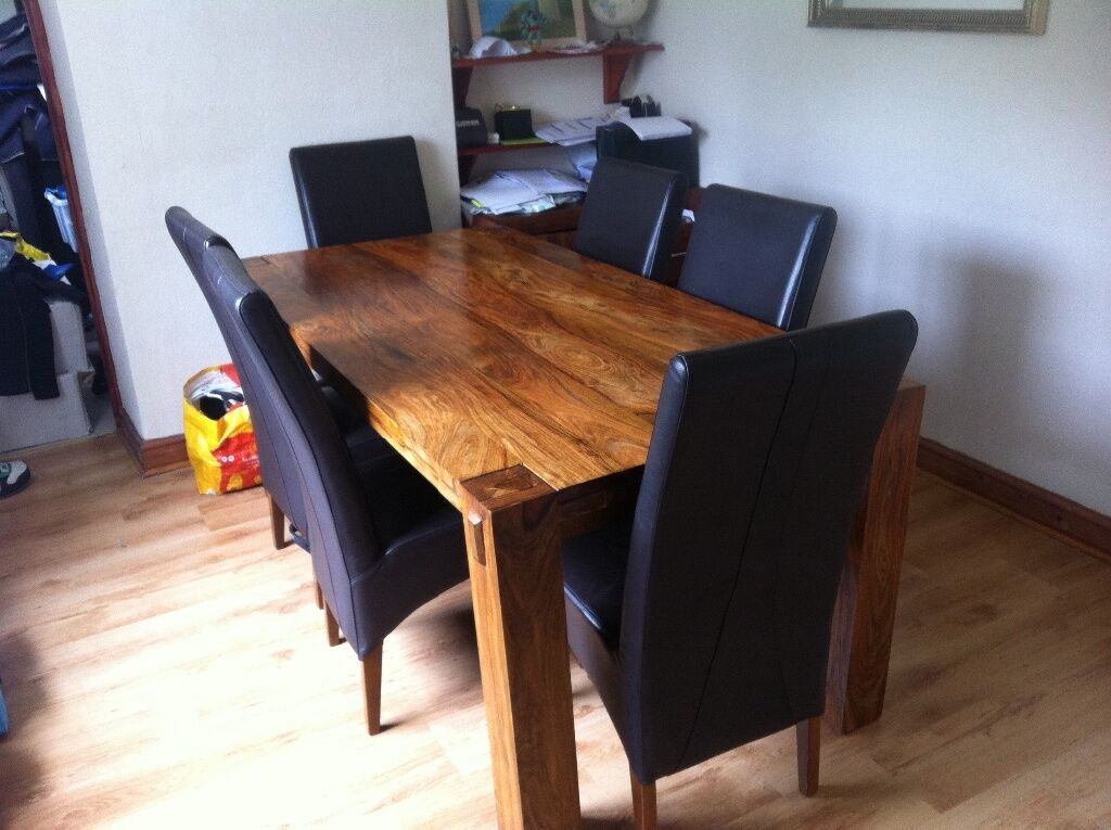 Harvey S Mango Wood Dining Table 6 Leather Chairs And Sideboard