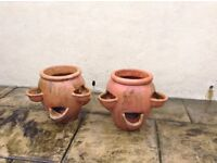 Terracotta strawberry/herb pots