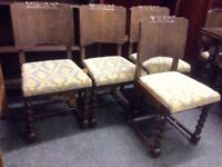 Set of 6 oak barleytwist chairs & table