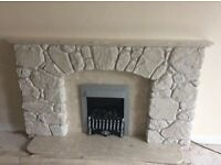 very nice stone fire surround with marble and fire included