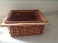 Oak and wicker storage basket near perfect condition