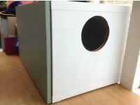 Large wooden box for cat litter tray.