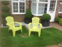 2 x garden chairs, American lounging style