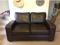 Brown leather 2 seater Next sofa good condition