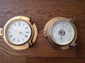 Brass Saloon Quartz clock and barometer from Nauticalia.