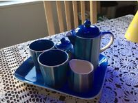 Whittards tea/coffee 6 piece set. Blue stripe.