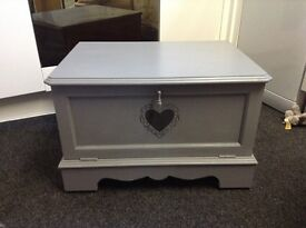 Wooden tv cabinet in grey with shabby chic heart detail