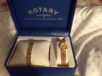 Ladies Rotary watch and matching gate bracelet in sturdy presentation box as new ideal gift