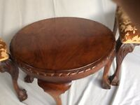 Antique. Reproduction Chippendale style chairs and polished mahogany coffee table
