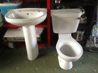 White W.C. Cistern and wash hand basin
