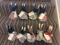 Dressed bunnies in cath kidston fabric 7inches tall complete with Birth Certificate £3 each