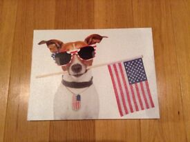 Cute and funny dog print on canvas