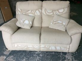 2 seater sofa - cream material, with cushions - FREE DELIVERY