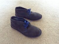 BOYS M&S GREY SUEDE DESERT BOOTS, SIZE 1 UK