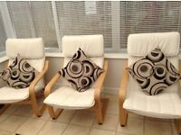 IKEA Poang arm chairs and footstools
