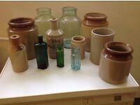 Vintage Stone Ware Jars And Vintage Coloured Medicine Bottles