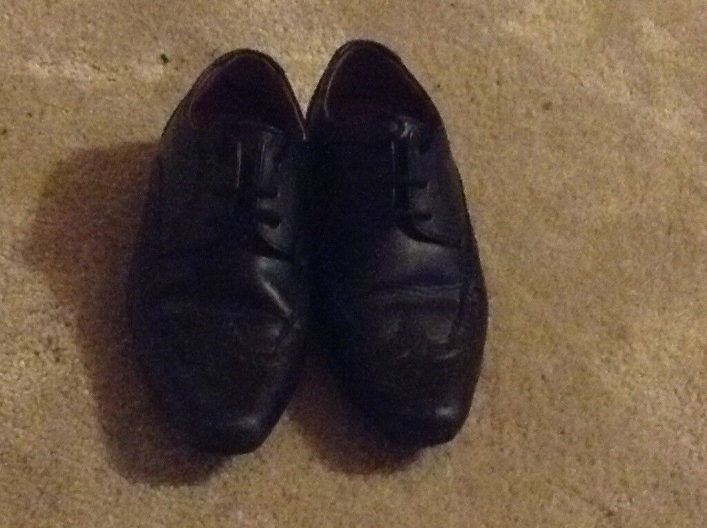 Leather black childrens shoes size 10