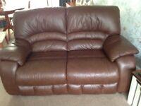 Brown leather sofa, armchair & footstool