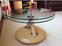 Glass coffee table double top swivel occasional/coffee table in very good condition