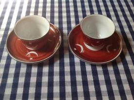 NEW Turkish cups & saucers; FREE ornamental whirling dervishes