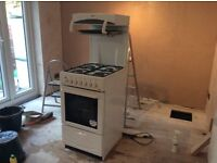 Gas cooker freestanding with eyelevel grill. 50cm wide. Good condition.