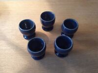 5 x Denby egg cups cottage blue