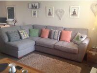 Corner suite sofa with footstool