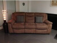 Three seater electric recliner settee and footstool
