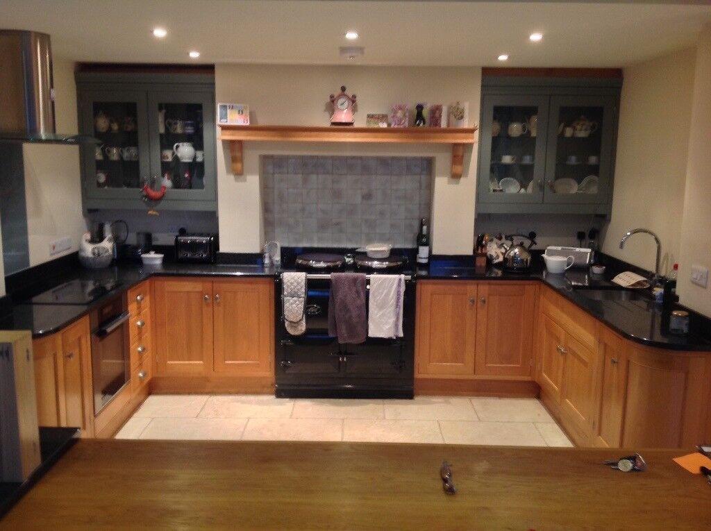 Used Bespoke Oak Kitchen Sink Oven Black Granite Worktops