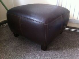 dark brown leather foot stool- good condition