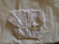 NEW, Hand knitted white baby cardigan, 3-6months