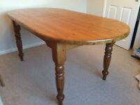 Solid pine farmhouse style dining table