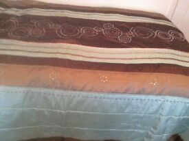 Duck Egg Blue and Brown throw and two matching cushions.