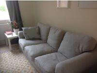 Ikea 3 seater EKTORP sofa - pale grey cotton covers