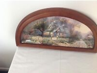 Tea cup cottage 3 plates in timber frame by Thomas Kinkade