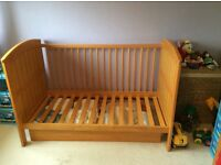 Bargain! Mamas and papas Hayworth cot bed set. Cot bed, cot top changer and under bed storage.