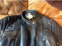 Ladies Akito black leather motorcycle jacket Size 14