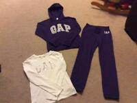 GAP girls purple tracksuit and long sleeve logo top age 12 years