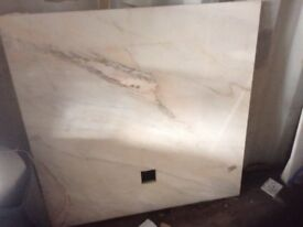 Marble hearth and matching back plate,£95.00